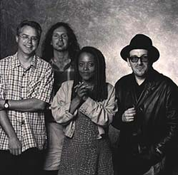 from left to right: Bill Frisell, Lee Townsend, Cassandra Wilson, Elvis Costello