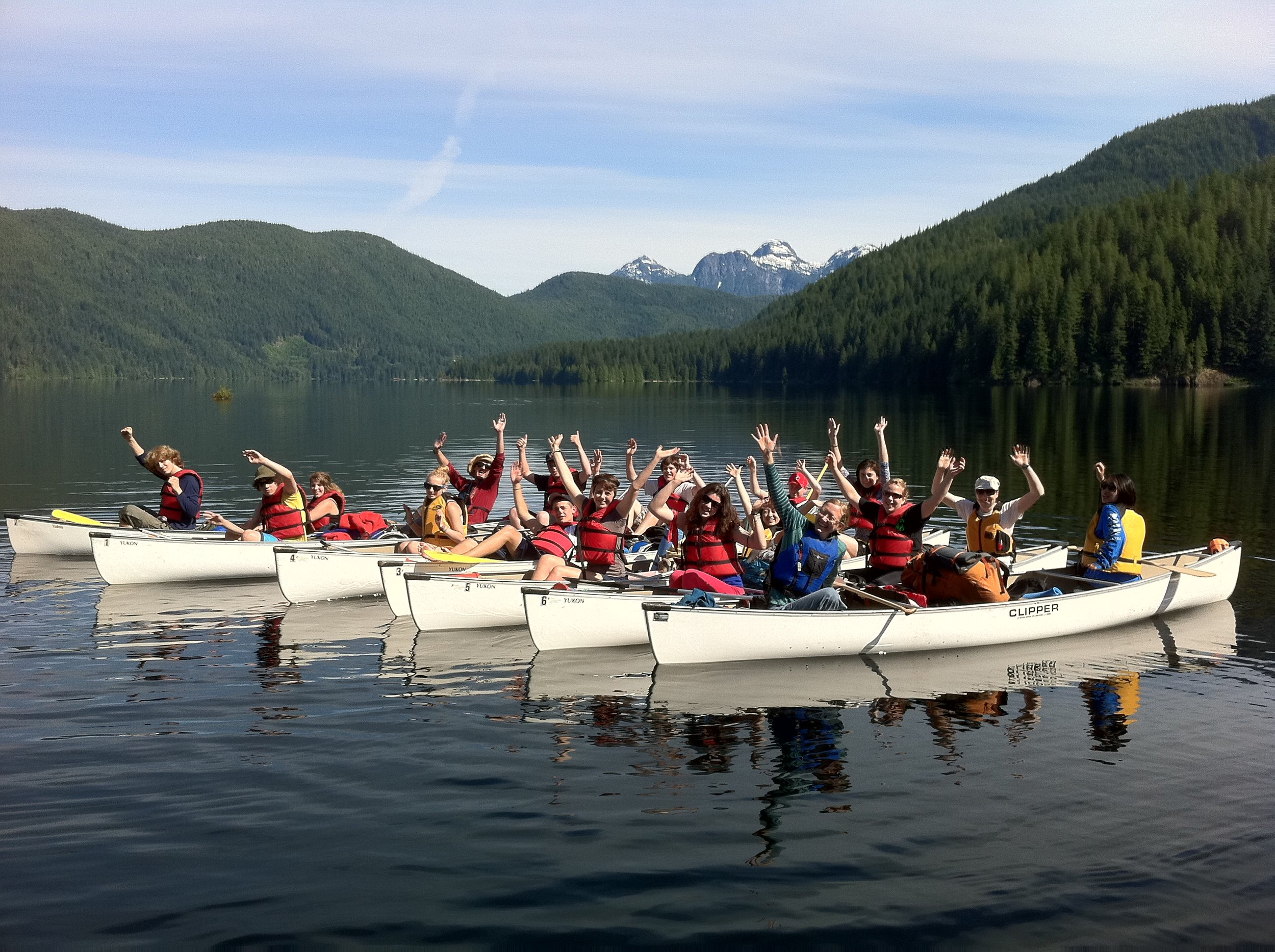 LEAP students taking a rest on the canoe journey