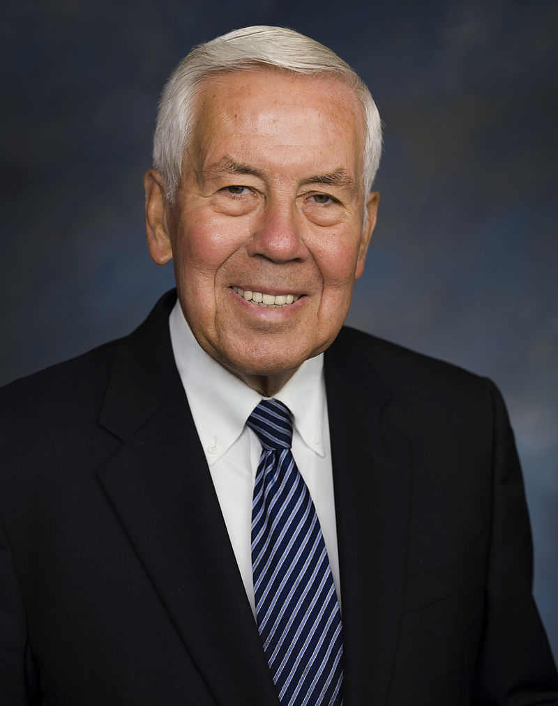 """Senator Richard Lugar (R-IN) (above) sponsored the Senate bill and was credited with getting the measure through committee """"with sheer political muscle."""" (CQ Almanac 1987)."""