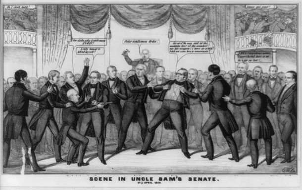 """Above (1850):  Senator Henry Foote (D-MS) pulls a pistol on Senator Thomas Hart Benton (D-MO), who charges towards him.  """"Scene in Uncle Sam's Senate. 17th April 1850"""". Credit: Library of Congress."""
