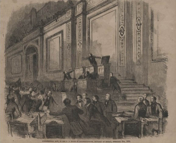 """Above (1858):  One of the most infamous brawls in U.S. House history, it culminated in  Rep. John """"Bowie Knife"""" Potter  (R-WI) ripping the hairpiece off the head of  Rep. William Barksdale  (D-MS).  """"Congressional Row, in the U.S. House of Representatives, Midnight of Friday, February 5th, 1858."""" Credit: Collection of the U.S. House of Representatives."""