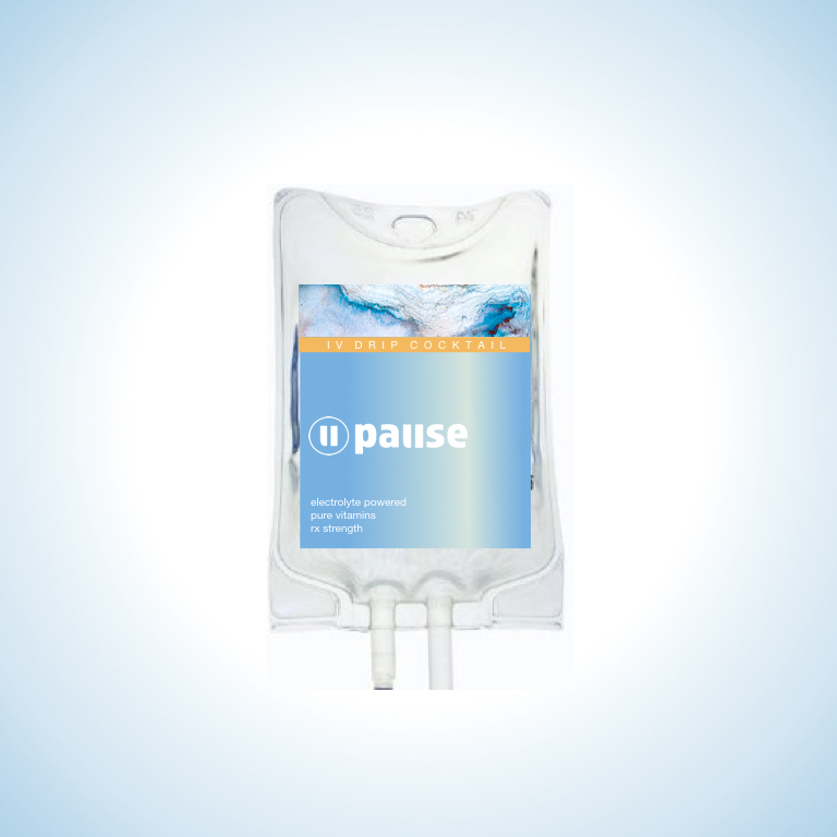 pause - $179 | Feeling the chaos? Dose yourself with this curated brain and neurotonicThis IV elixir is a massive dose of calming Magnesium, brain protecting Taurine, ultra calming GABA and Theanine, and B6, the megaproducer of brain-calming neurotransmitters. This patented premium combination will help relax your body and mind, taking you beyond the calm and into the deepest state of Pause