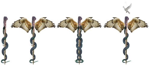 Above left: Aesculapius's staff and snake, Middle and middle right: Single and double (duality of life) caducei    Right: the caduceus as an act of submission