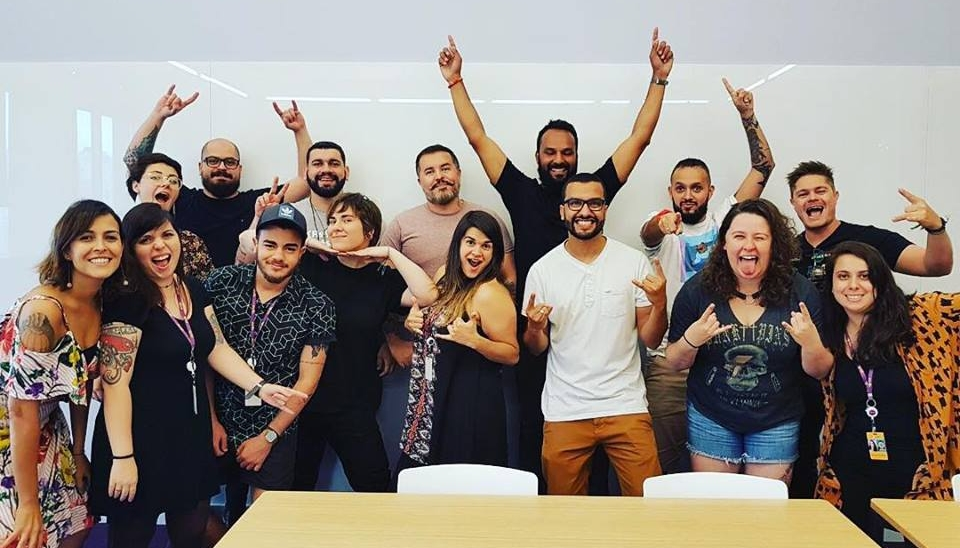 UX team 2018 (left to right):  Livia Holanda, Camila Rocun, Alessandra Calazans, Cloves Cardoso, Matheus Barro, Aurelio Jota, Debora Dias, Bruno Gaspar, Elisabet de Marco, Cesário Monteiro, Anderson Silva, Bruno Capella, Natasha Zito, Frank Abreu, Roberta Castellano.