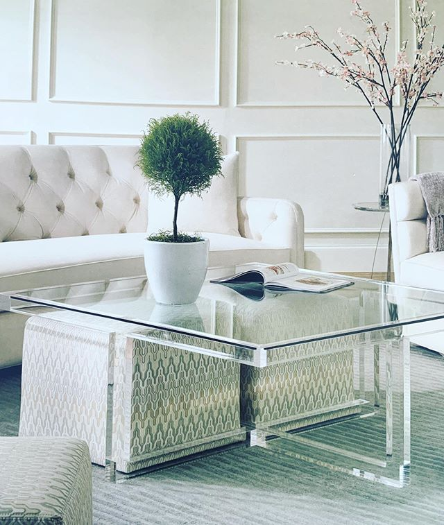 "Thinking 🤔 about tables and space and how furniture can function to better create the rooms that give us the most options, like this Kravet cocktail table with ottoman storage.  Arcylic frame with tempered glass top and 20"" x 20"" ottomans - up to four in whatever fabric you desire! 💯  Available through the Chatham Design Center"