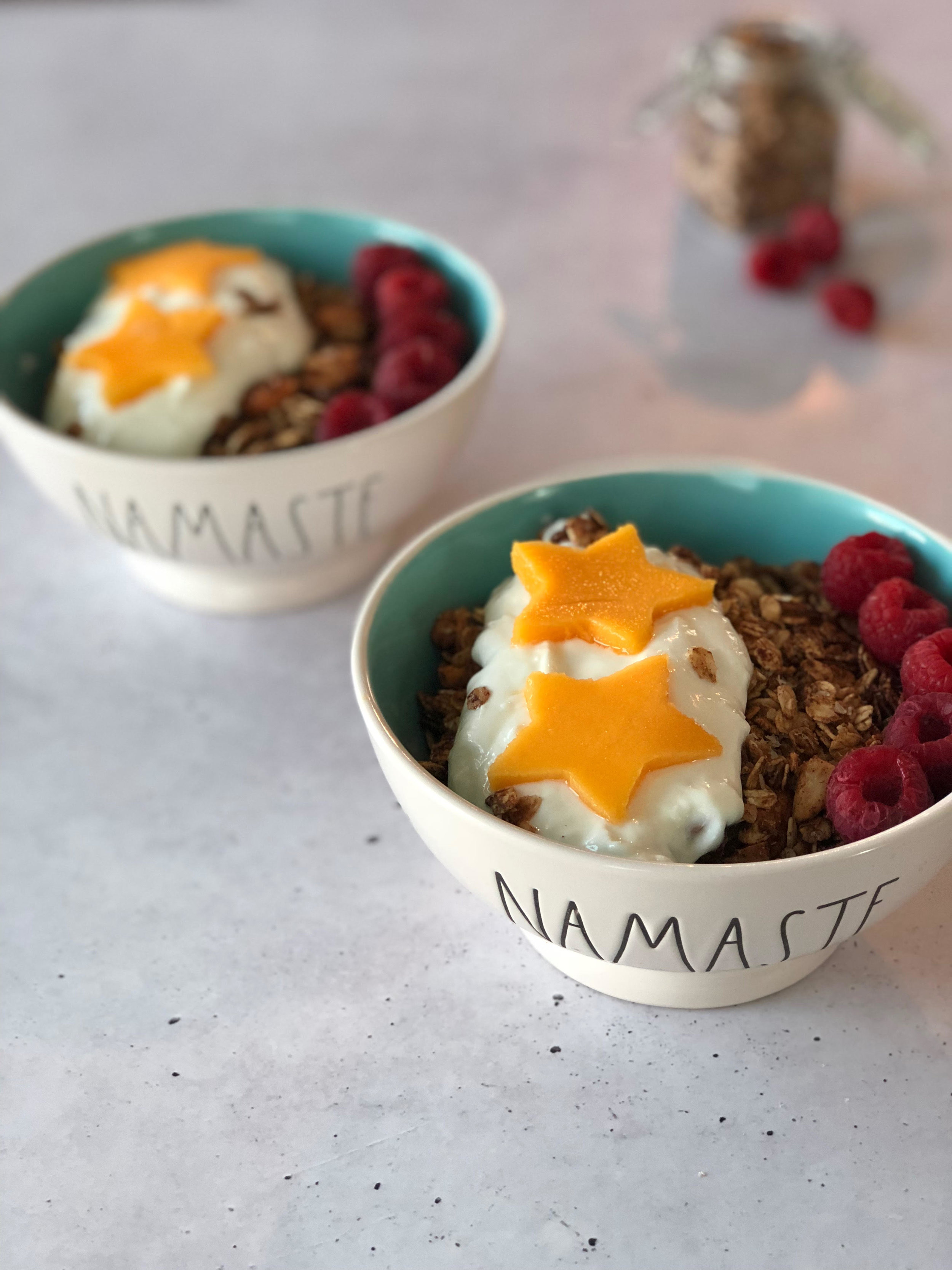 Granola bowl  - By Gemini BakesCombine 1/2 cup homemade granola, 4 tbsp. yogurt (coconut for ex.), any type of fruits and enjoy your breakfast!