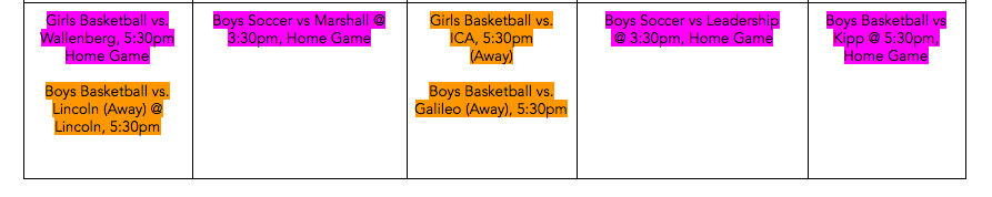 June Jordan Jaguars Sports Games for this week - come out to support!