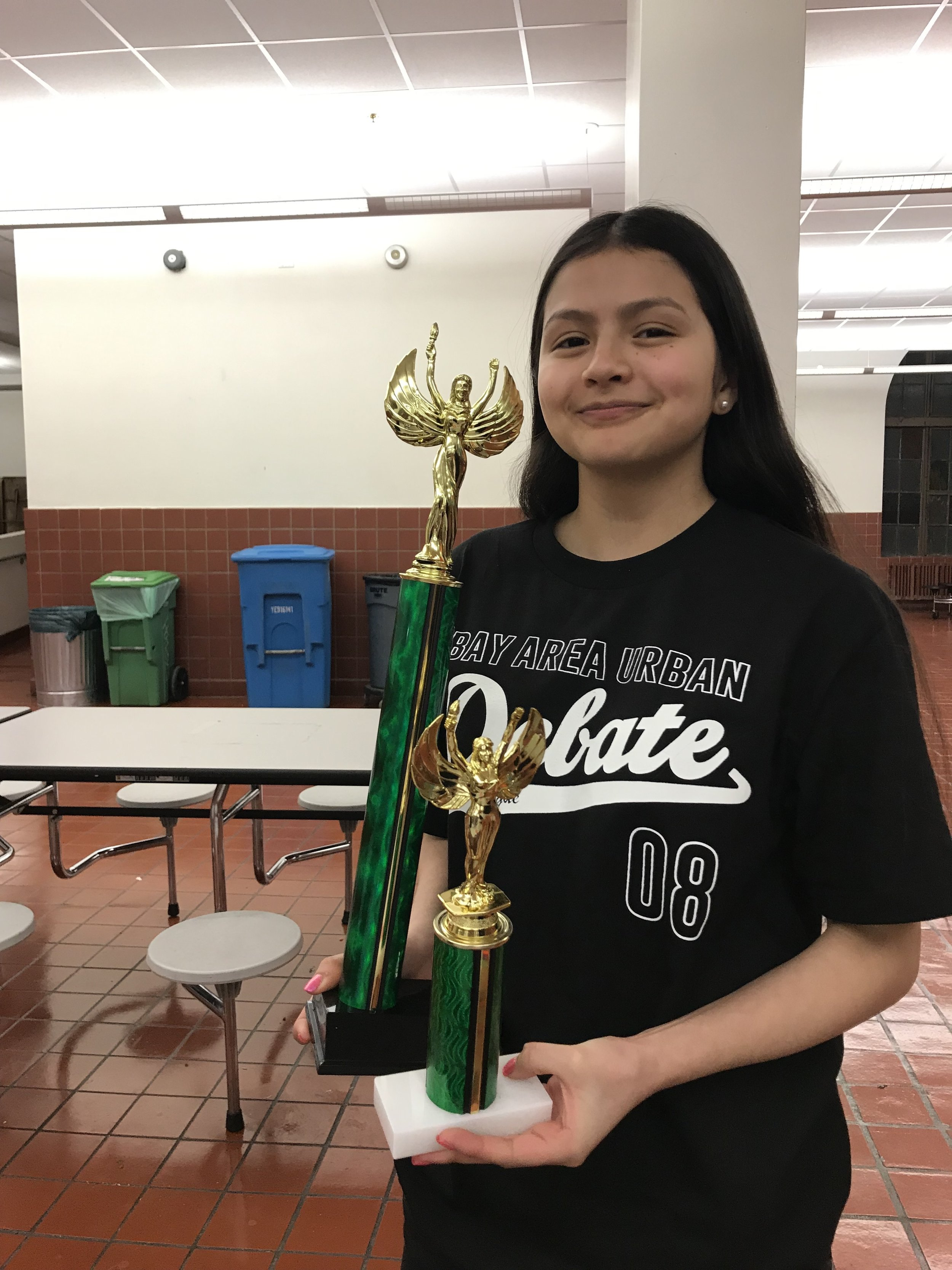 Kathya with her trophy!