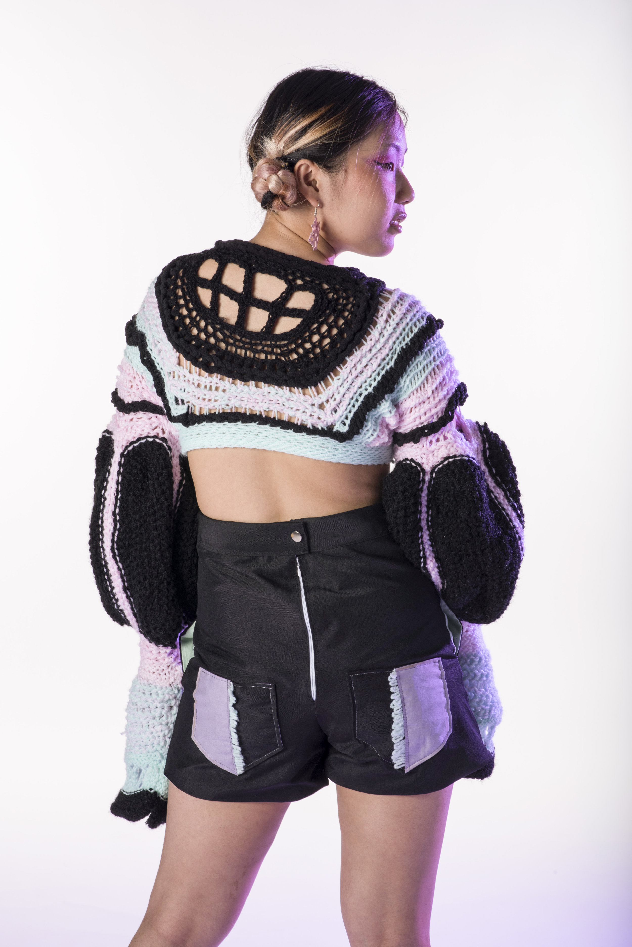 ZENI-edgy, downtown, trendy - Crop Top Crochet Sweater (acrylic yarn)Darty Shorts ( nylon, cotton, polyester)Tatted Lace Earrings (thread floss)