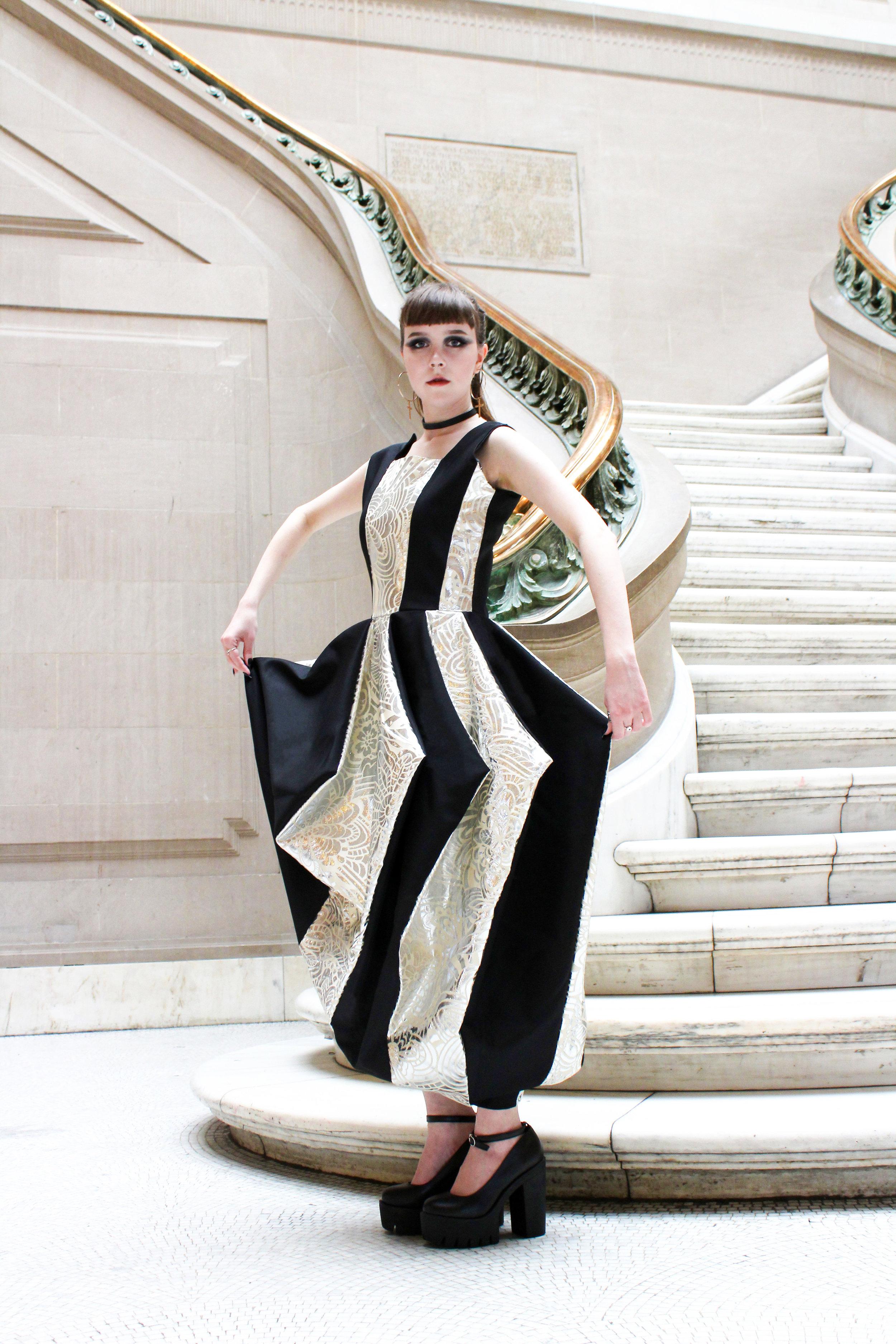 - Stripped Dress ( woven cotton + metallic, nylon)