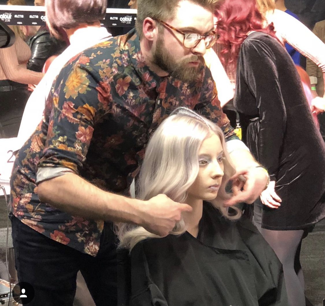 L'orel Colour Trophy 2018.  Sam Prepping our model at #LCT18