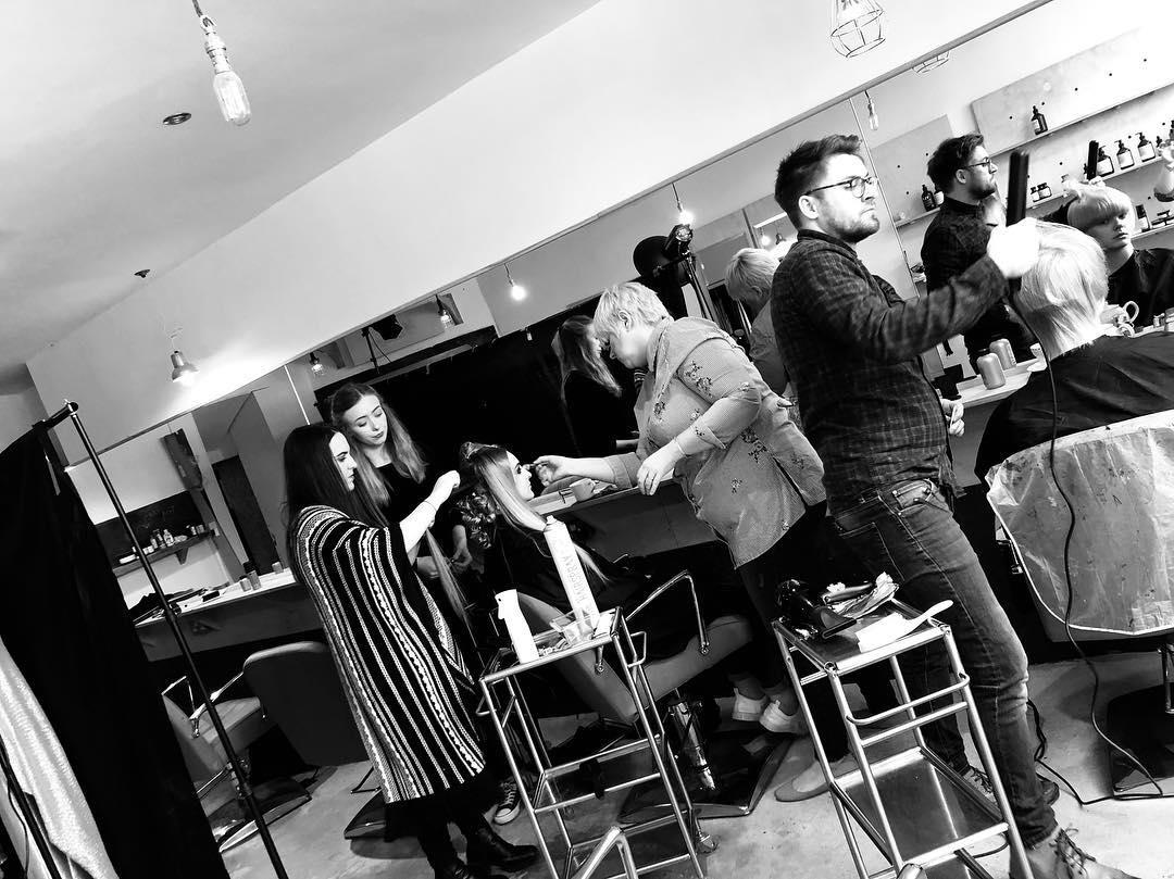 Preppin' our salon collection shoot.