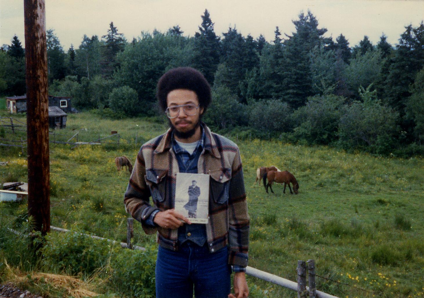 Clarke, aged 20, at Three Mile Plains, NS, 1980.