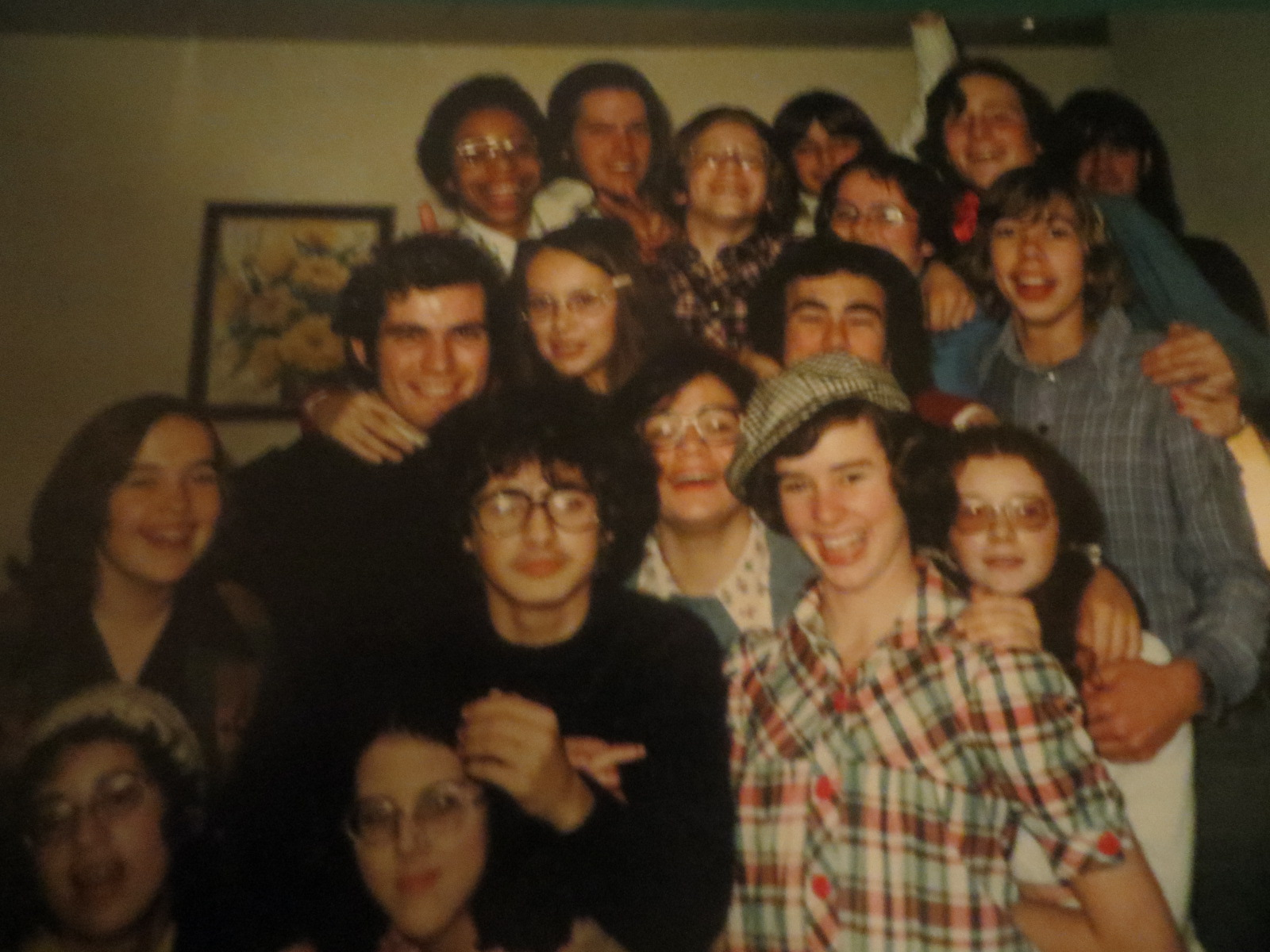 With David Renton's student theatre company, Mind the Flowerpots,age 14, Halifax, NS, Fall 1974.