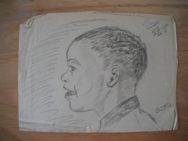 Drawing of Clarke, age 5.5, by his father, Bill Clarke, October 1965.