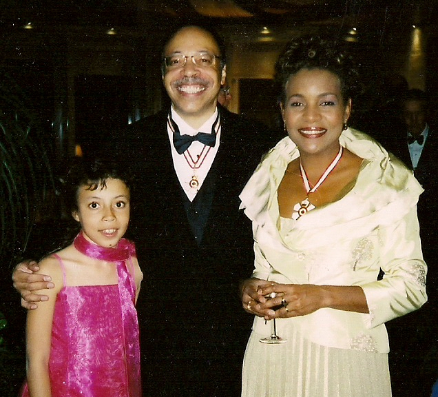 With daughter AMC and Her Excellency Michaelle Jean, Governor-General of Canada, at Order of Canada appointment ceremony, Ville de Quebec (QC), October 2008.