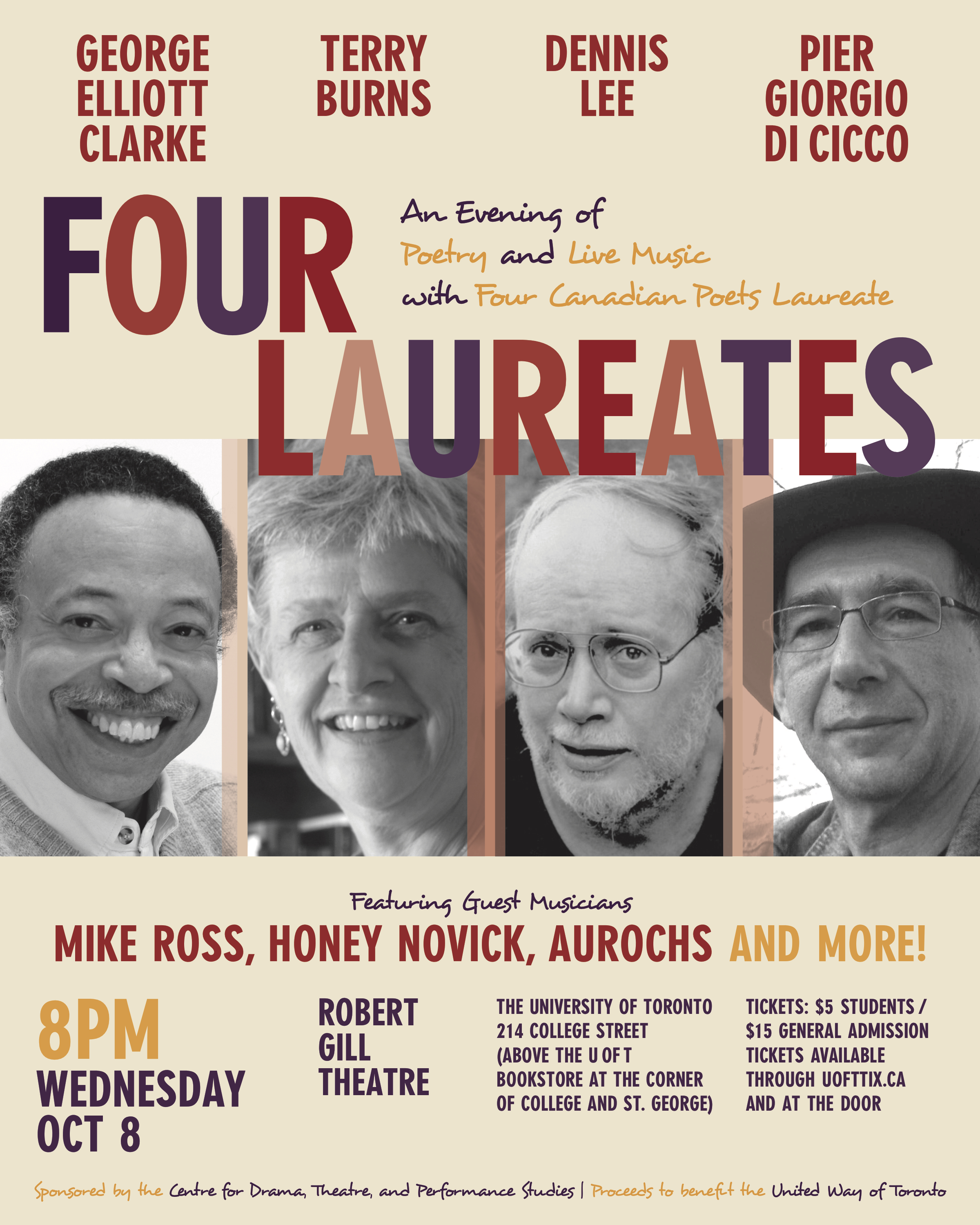 Four Laureates: Poster for an evening of poetry, 2014.