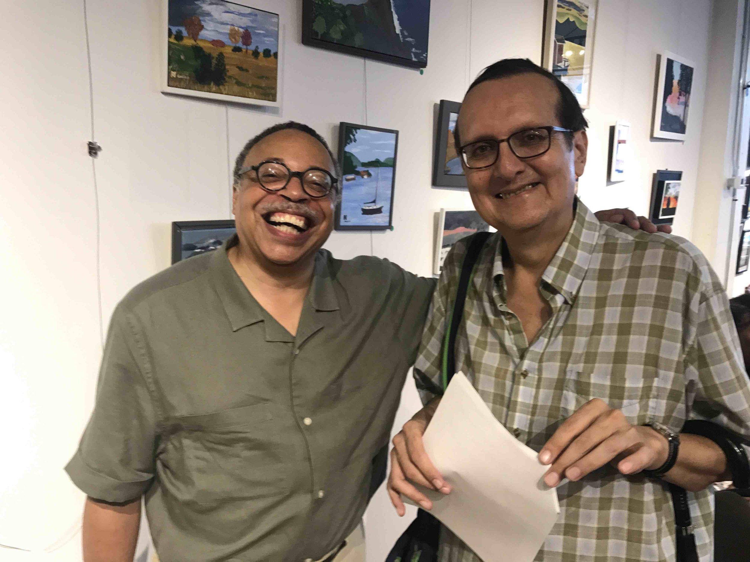 With writer Daniel David Moses, 2018.