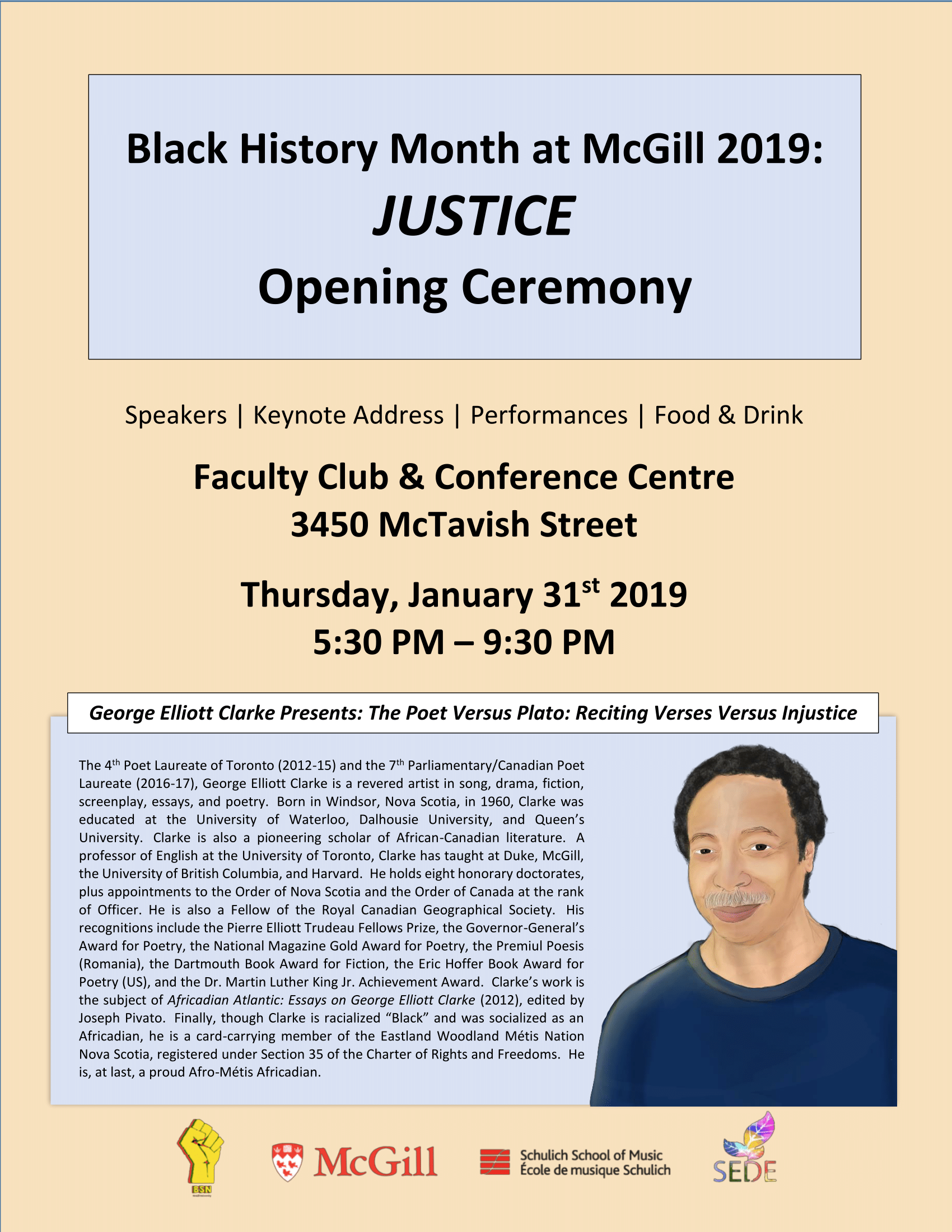 A portrait by poster: Opening ceremony of Black History Month at McGill University, Montreal, 2019.