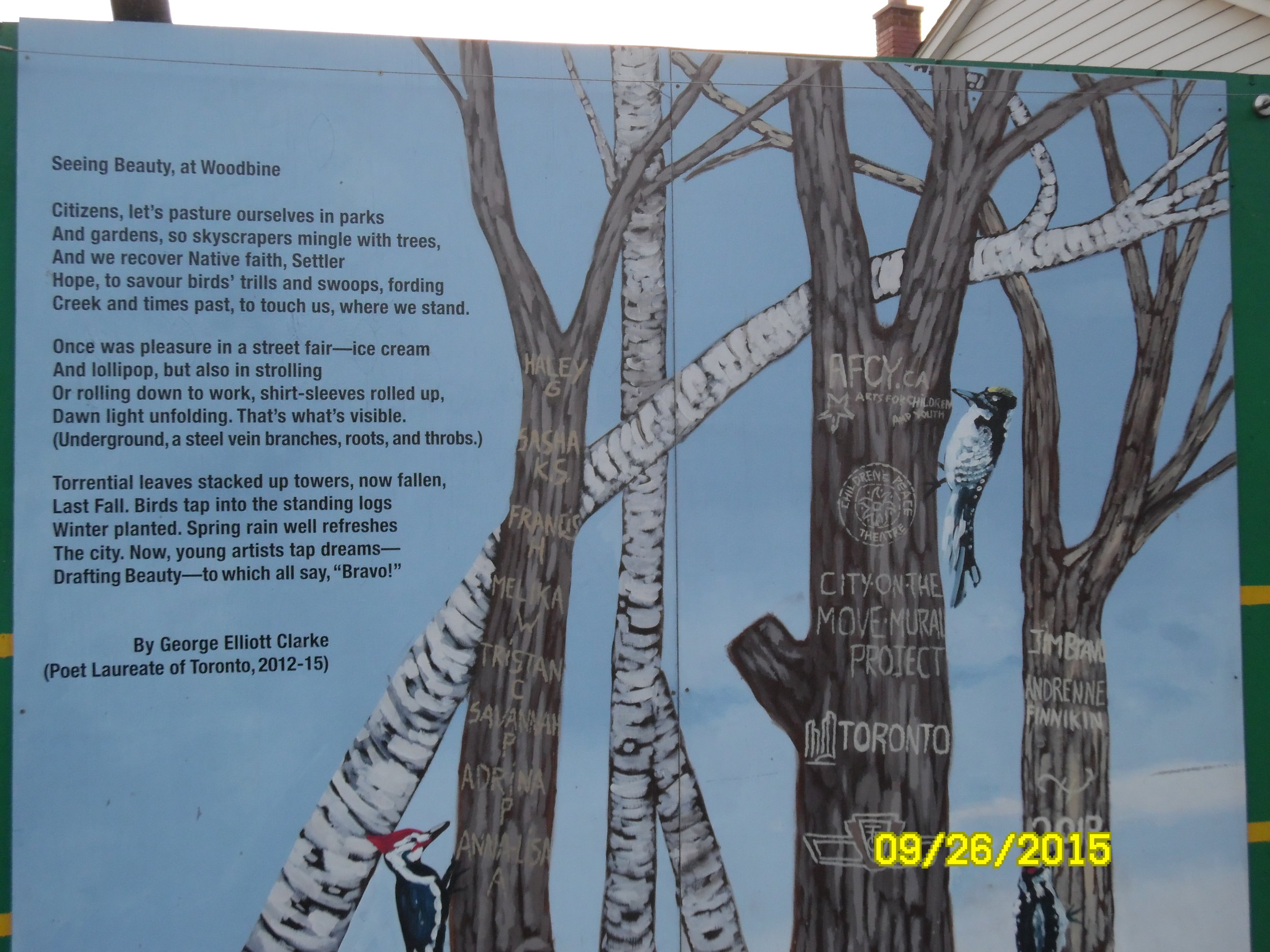 """Seeing Beauty, at Woodbine."" Poem on a Construction Site, 2015."