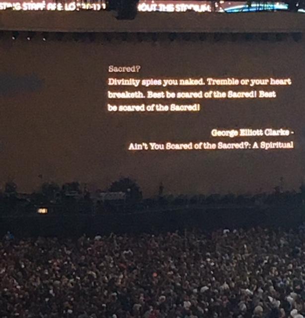 Poem at a U2 concert, 2017.