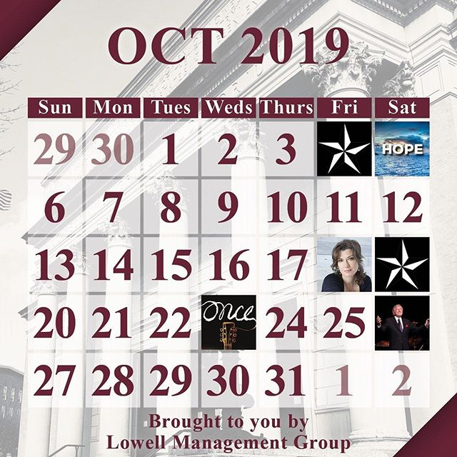 #HappyOctober!! Our show lineup is so good, it's scary. Try not to lose your head... comment below & let us know which shows you'll be seeing this month!  #October #Lowell #Halloween #October1st #AmyGrant @amygrantofficial #OnceMusical @itstonybennett #TonyBennett