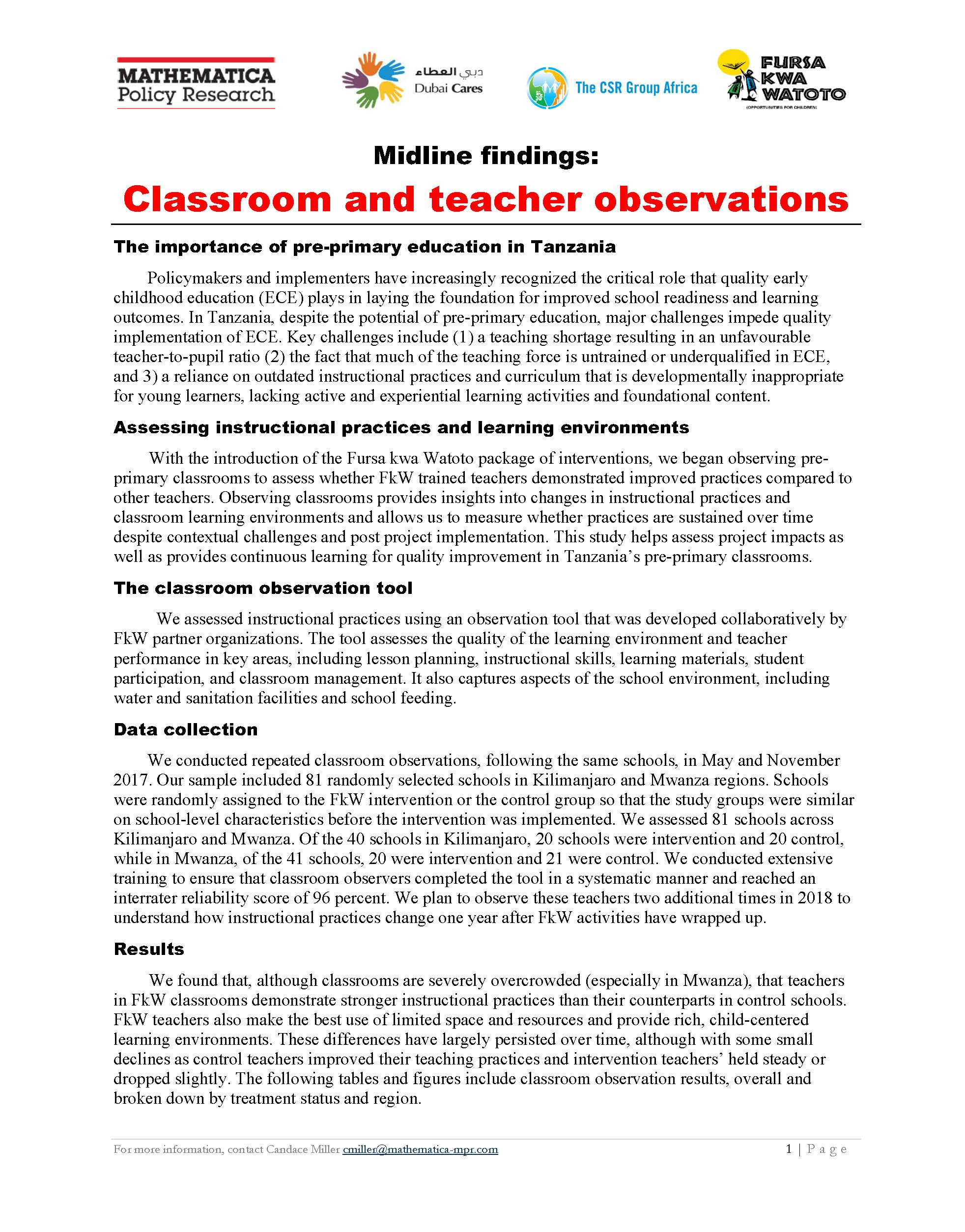 Classroom Observation Results Tables - Learning Agenda