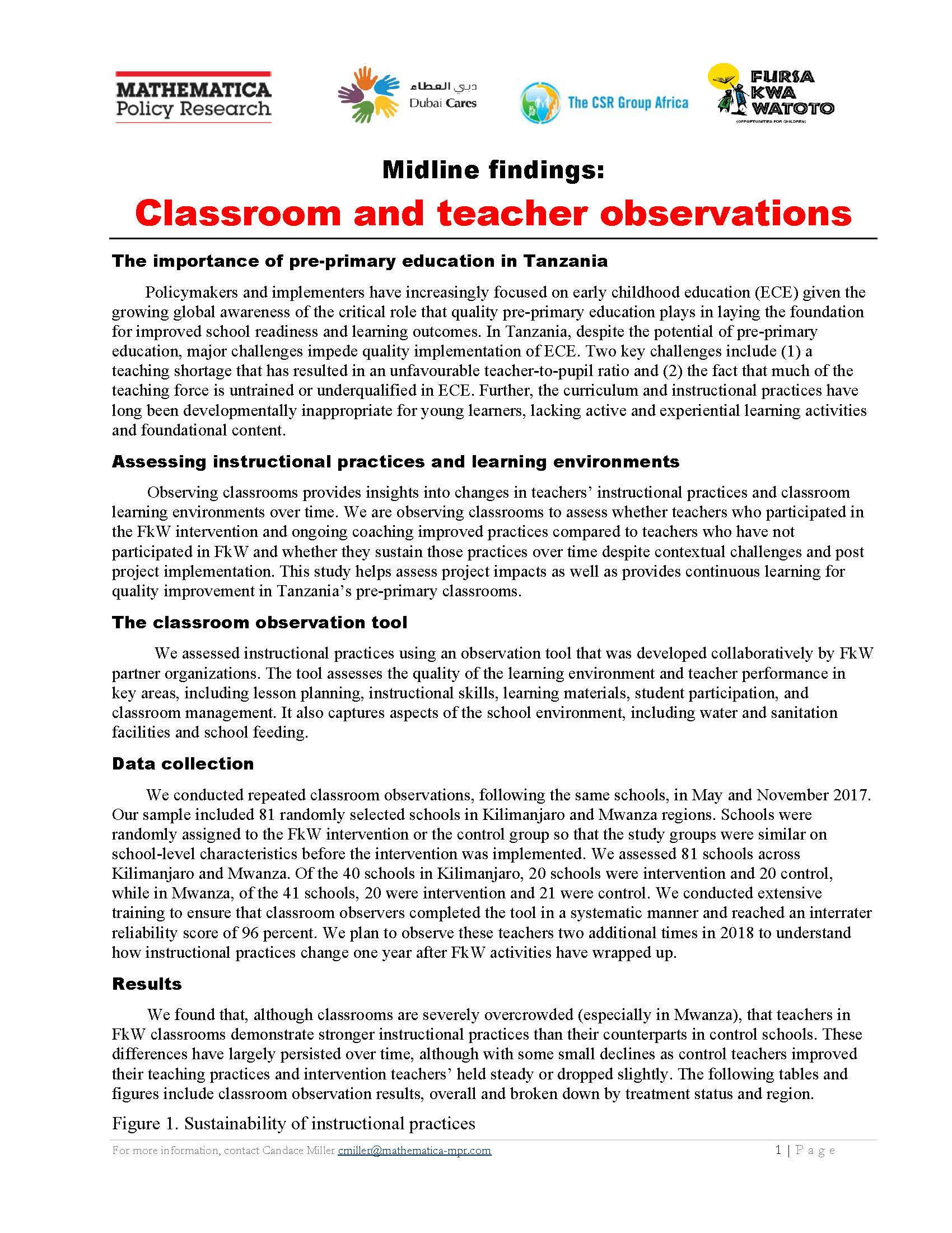 Classroom Observation Results Tables: Sustainability - Learning Agenda