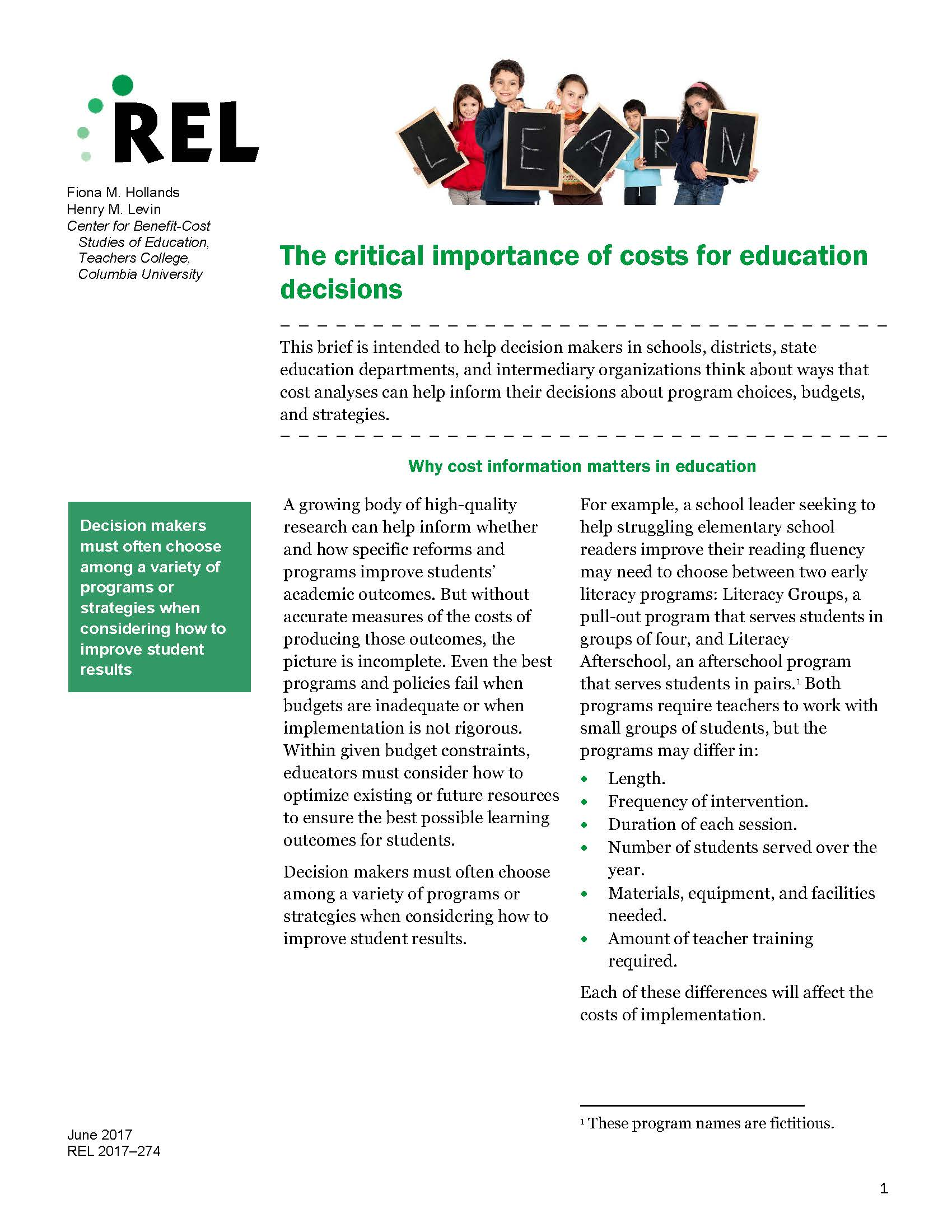 REL: The Critical Importance of Costs for Education Decisions