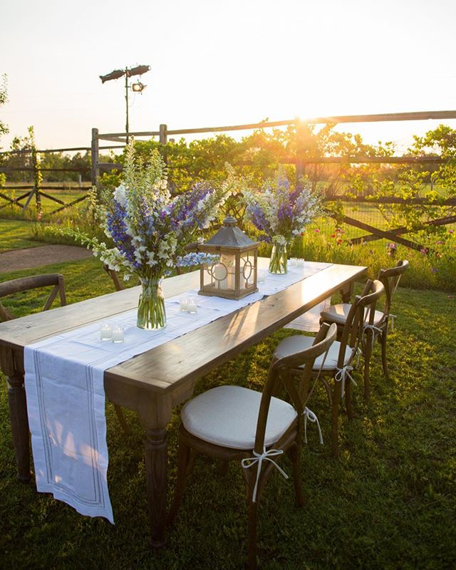 Sunset at the bride's family's farm post-cocktails, pre-dancing. Event Design and Coordination @gregboulusevents | Floral Design @charlestonstreetfineflowers | Photography Robin Gerard