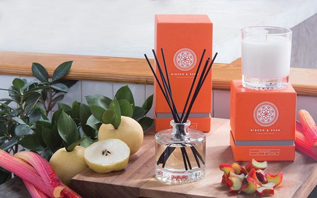 One of our favorite summer scents 🧡 Fresh rhubarb and golden quince blended with sweet apple, green accords, and a touch of vanilla #gibsonanddehn . . . . #candles #diffuser #aromatic #fragrance #summer #scent #smellgoods #homeambiance #charlestonstreet #surreycenter #rhubarb #quince
