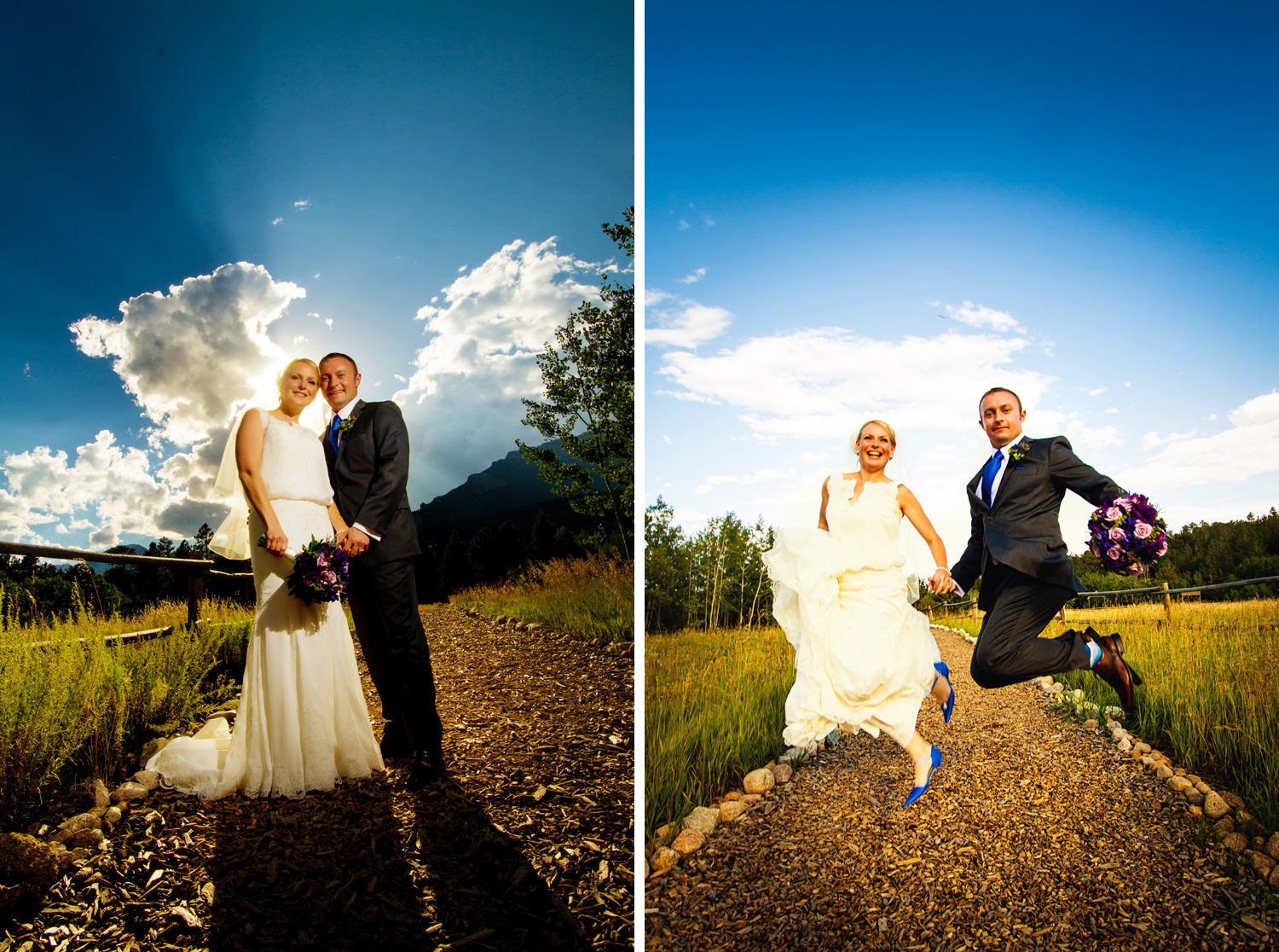 bride and groom jump for joy, captured by wild basin wedding photographer, tomKphoto