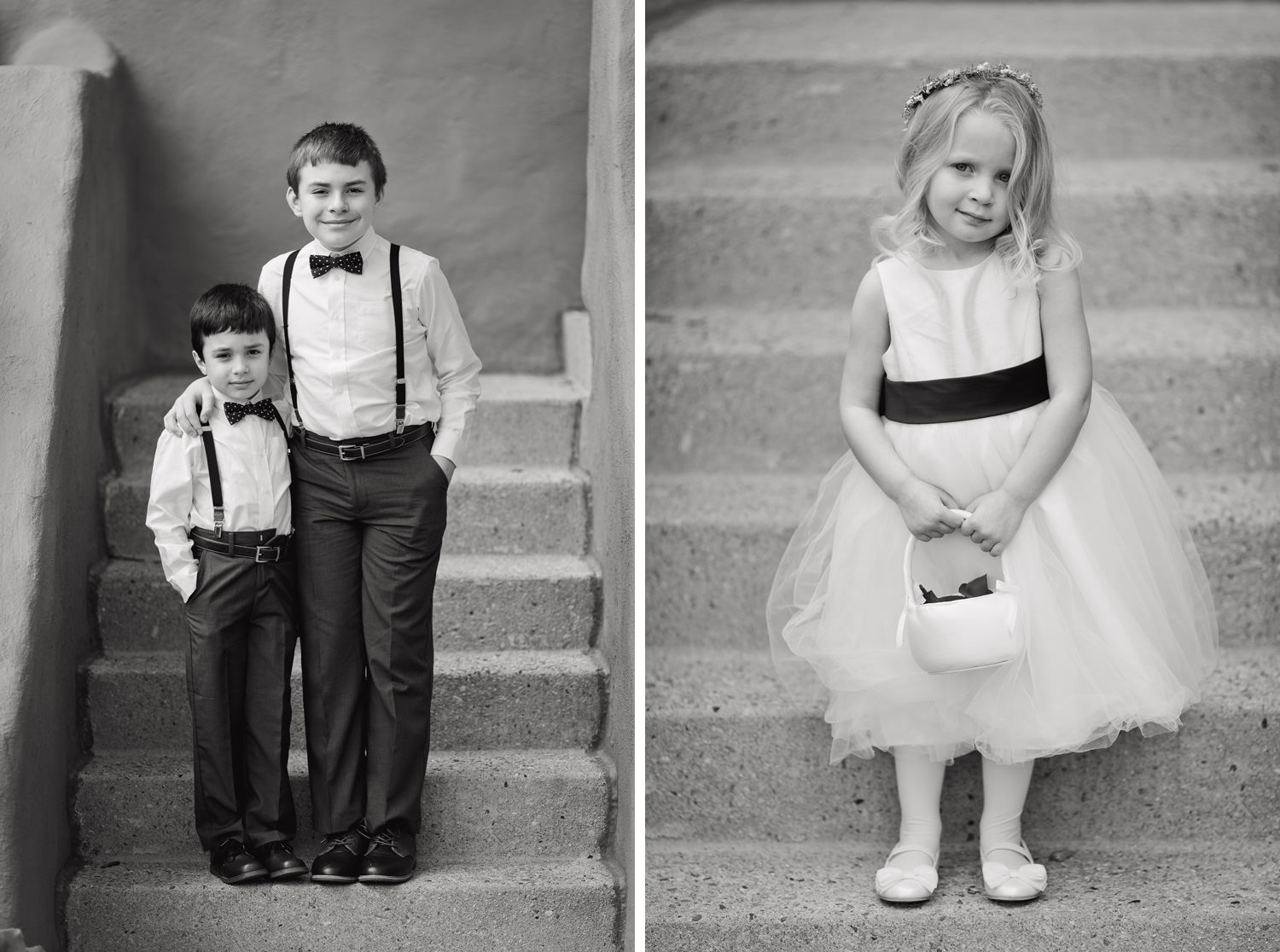 ring bearers and a flower girl pose for portraits during a red rocks wedding in morrison, colorado