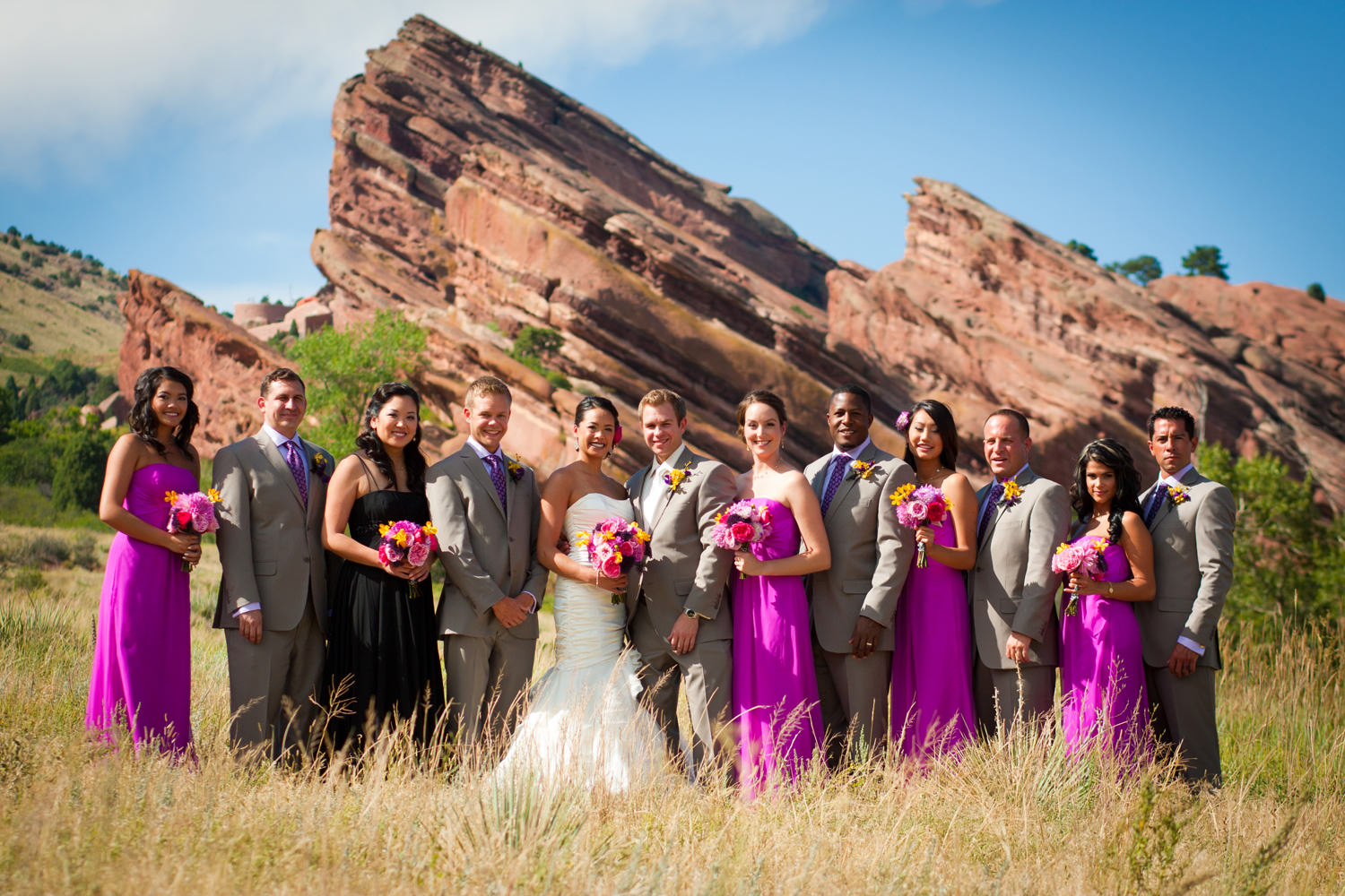 wedding party in a yucca field with formations towering behind at a red rocks wedding in morrison colorado