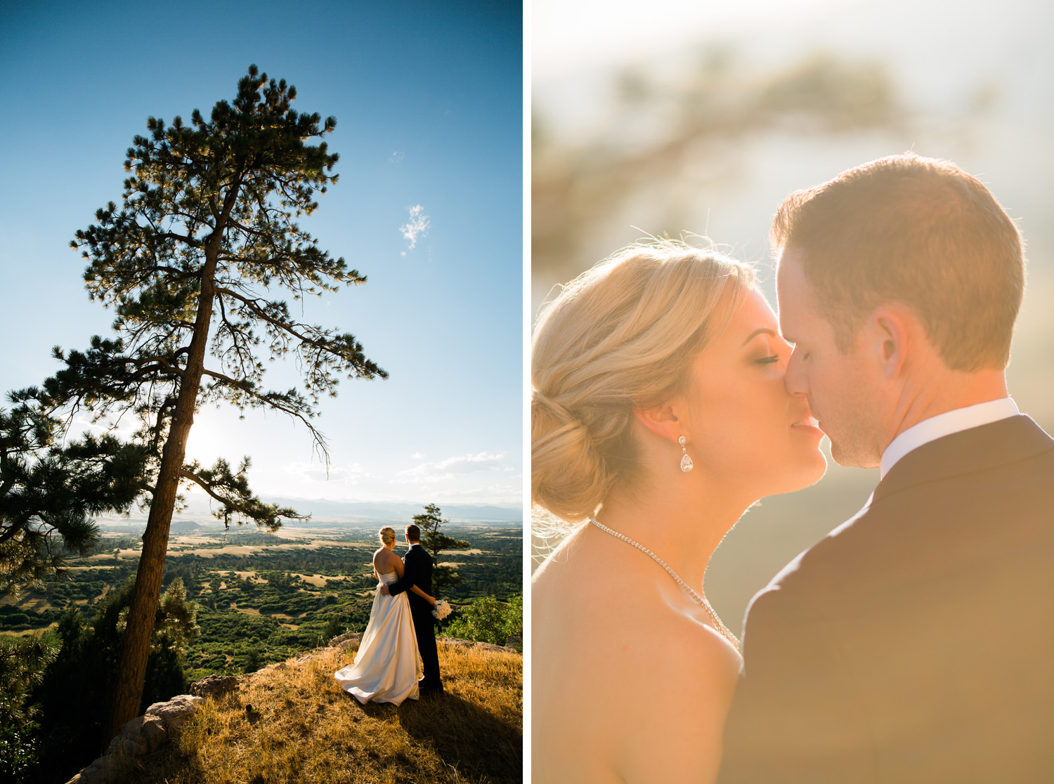 bride and groom stroll in late afternoon light with a large tree and scenic background during a cherokee ranch and castle wedding in sedalia, colorado