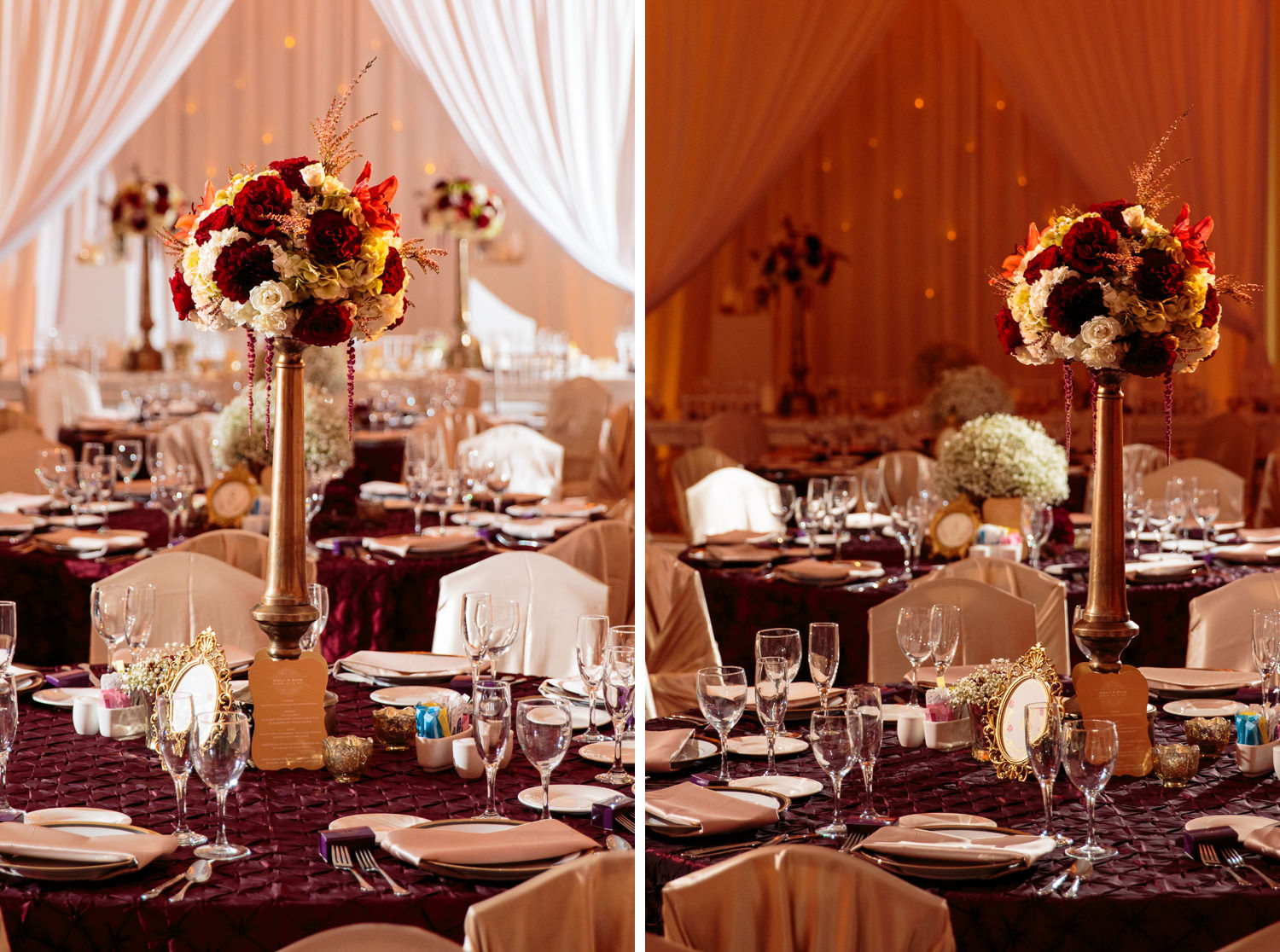 reception table settings captured by tomKphoto lakewood country denver wedding photographer