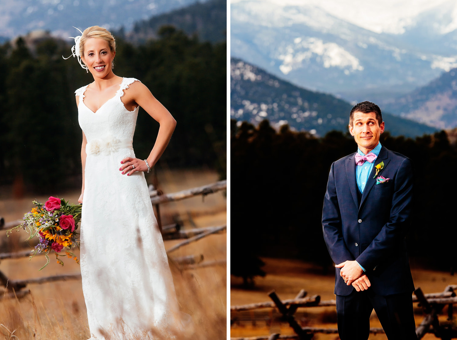 bride and groom have fun for portraits during a twin owls steakhouse wedding in estes park, colorado