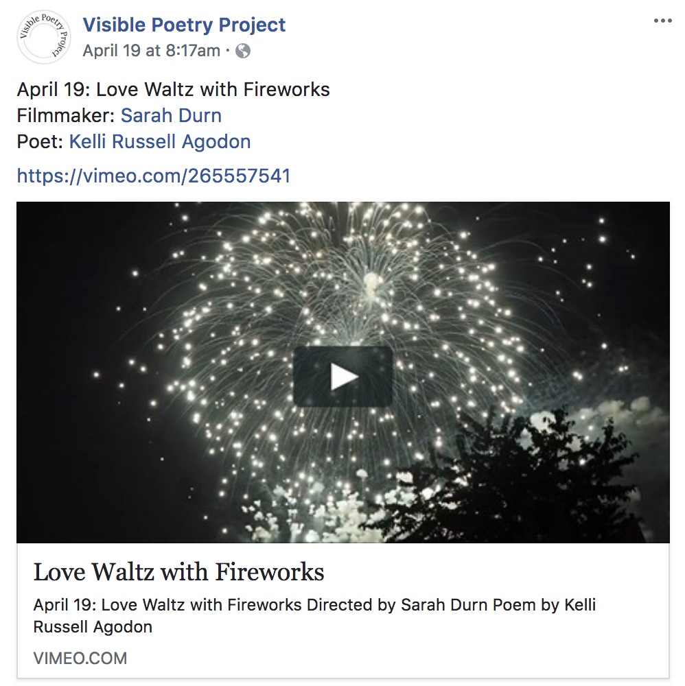 New Short Film Released! - Visible Poetry Project just released my new short film, Love Waltz with Fireworks, a lovely collaboration with Seattle-based poet, Kelli Russell Agodon. So grateful to the wonderful humans I worked with on this one :)