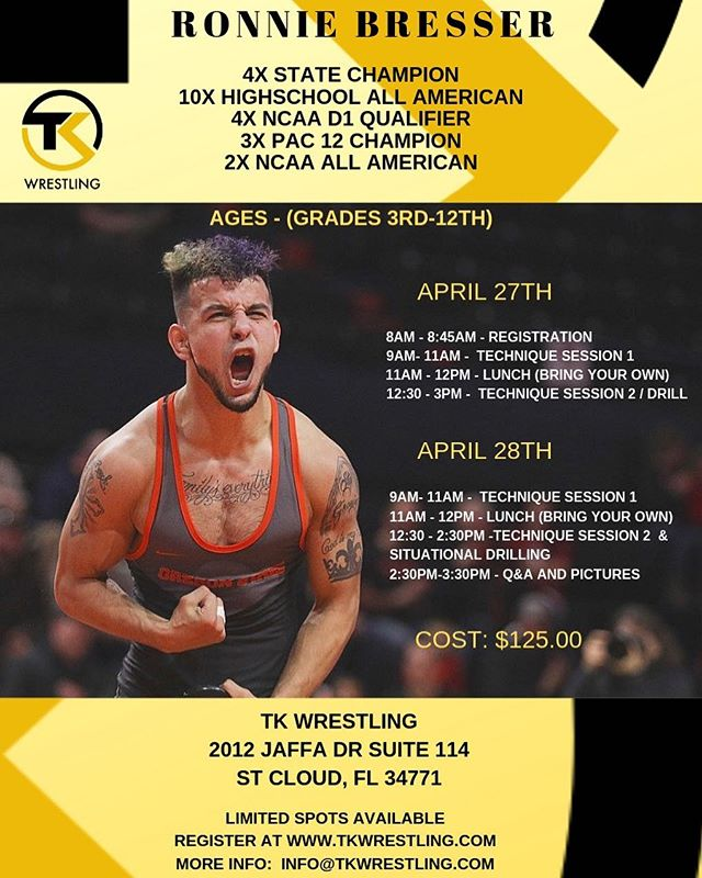 Less than 2 weeks away. Please message or email me if you are going to attend. We are getting head count to make sure everyone is signed up. We will accept payment on site but you must be on the list in advanced to attend. Going to be a great 2 day exclusive clinic you don't want to miss. 👍😁🤼‍♂️