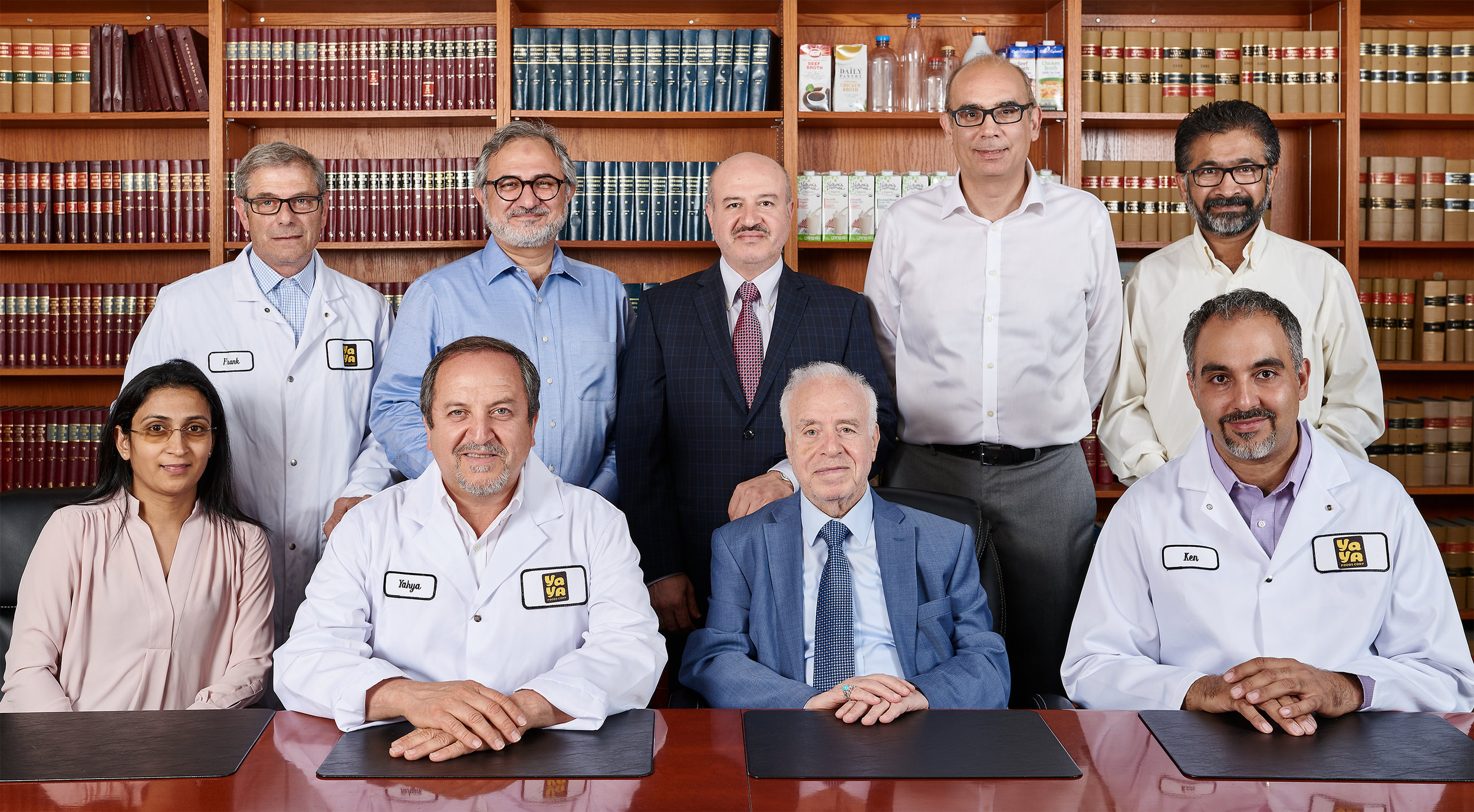 Sitting from left to right:   Bosky Patel –  Director of Quality , Yahya Abbas –  President and CEO , Mr. Mohammed-Ali Al-Ali –  Chairman of the Board , Ken Xenophontos –  Manager of Commercialization . Standing from left:   Frank Cipparrone –  Director of Technologies and Key Accounts,  Hamid Meshkat –  COO,  Ahmed Al-Ali –  General Manager , Basil Khalil –  Director of Operations , Sanjiv Pandya –  Director of Human Resources