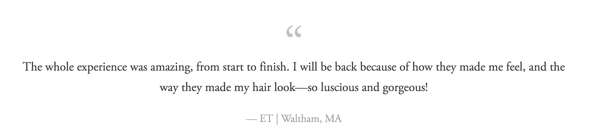ET of Waltham reviews Maynard Hair Salon Hair in Harmony