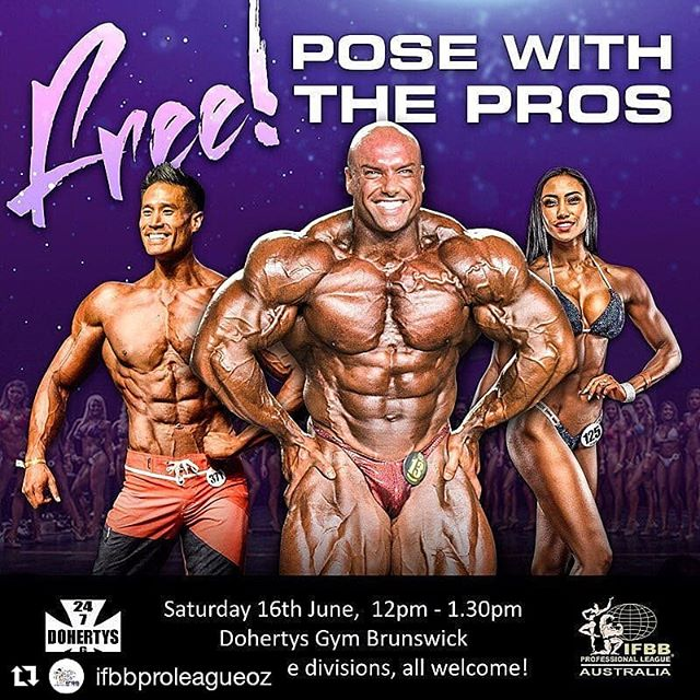 This is on next weekend out @dohertysgym Brunswick, so come check it out guys 💪🏼 . #Repost @ifbbproleagueoz (@get_repost) ・・・ Want to learn how to pose like a pro? Come along to our next posing workshop scheduled for Saturday 16th June at Doherty's Gym, Brunswick 12pm - 1.30pm. It's open to everyone and is totally FREE!!!! We will have @melissa_carver_x @vietdoan_ifbbpro @josh_lenartowicz and a few other Pro athletes as well as IFBB Pro League judges to answer any questions you might have. Bring along your posing suites, heels or just come in tracksuits.... just BE THERE!!!!! Remember that 1 male & 1 Female will be chosen from the Bendigo show to win a trip to Las Vegas. It might just be their posing that wins it for them!  #posewiththepros #ifbbproleaguoz #bikini #figure #fitness #womensphysique #bodybuilding #mensphysique #mensclassicphysique