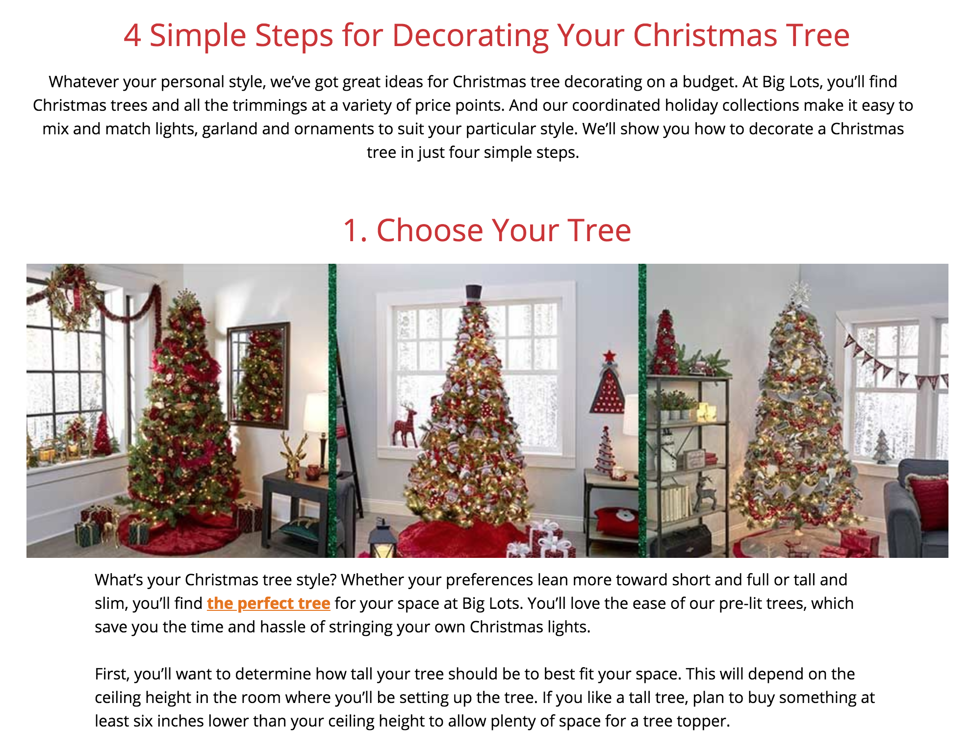 Big Lots holiday content - Wrote six seasonal holiday guides and how-to articles for Big Lots, including indoor and outdoor Christmas decoration ideas, gift guides and DIY gift and decor ideas. Articles were topic-based around highly searched keywords.Click here to read more!