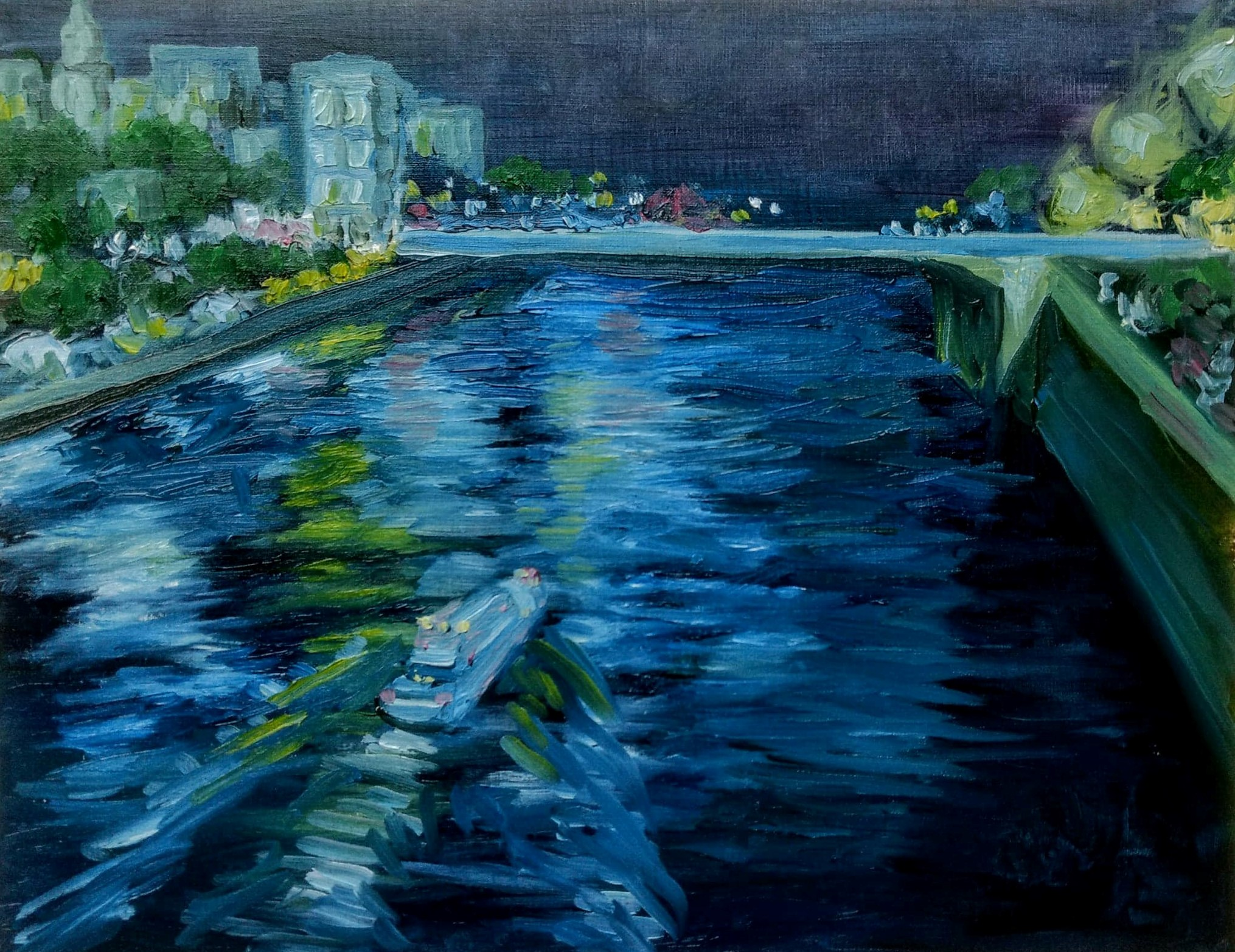 Seine at Night   2017  9 in x 12 in  Oil on Paper