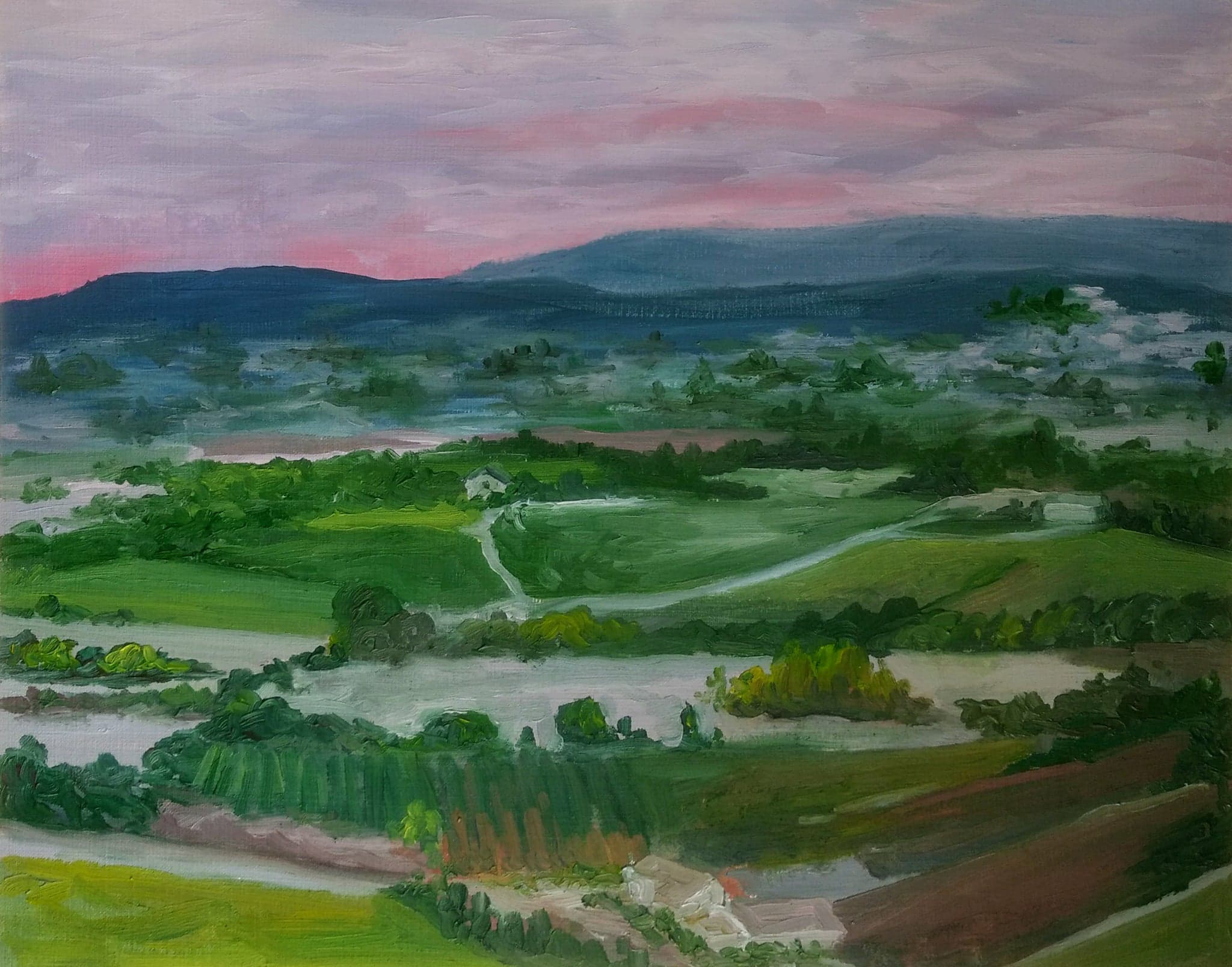 Sunrise Over The Valley   2017  9 in x 12 in  Oil on Paper