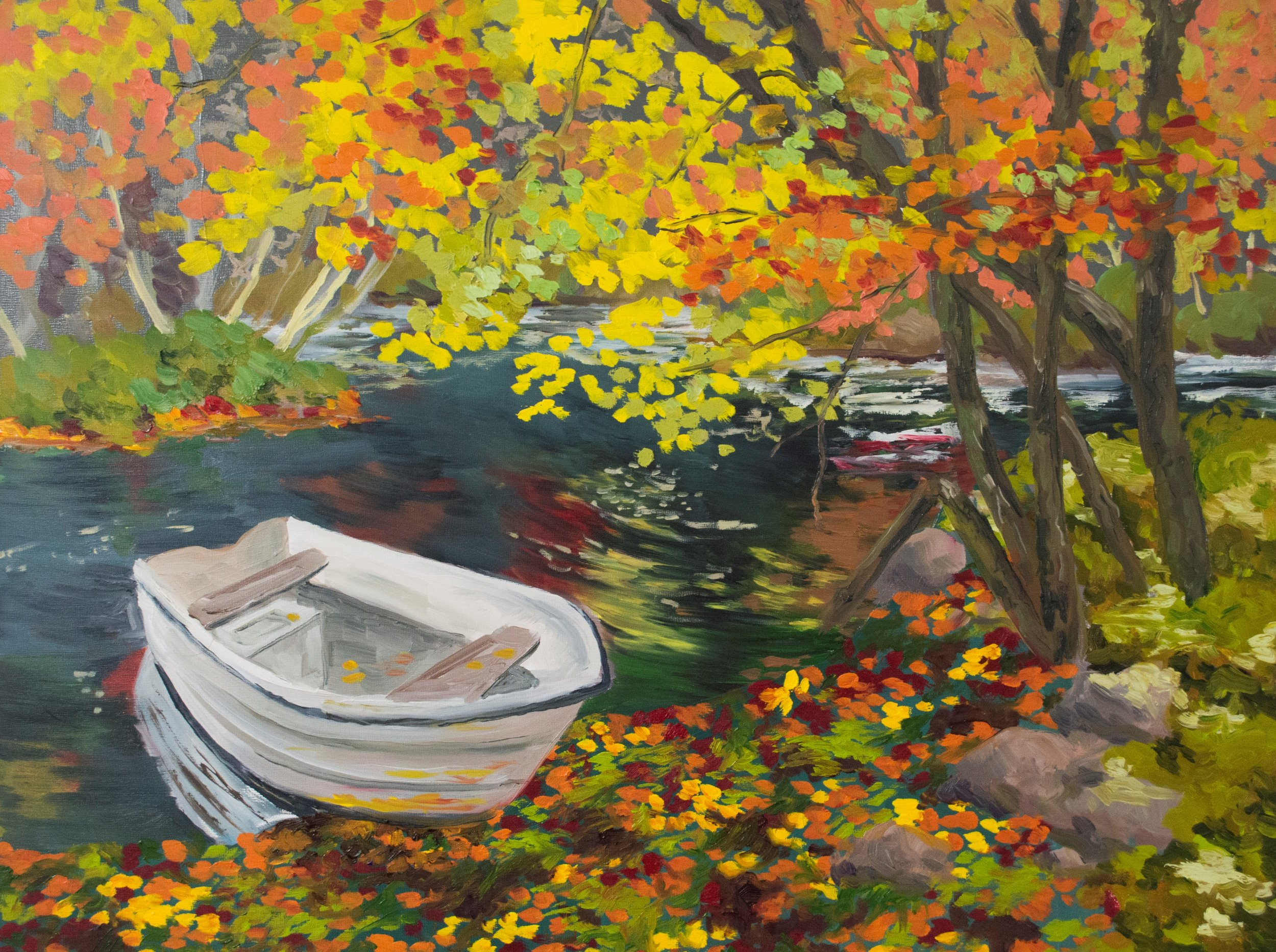 Autumn Riverbank - NFS SOLD   2018  24 in x 18 in x 1 1/2 in  Oil on Panel