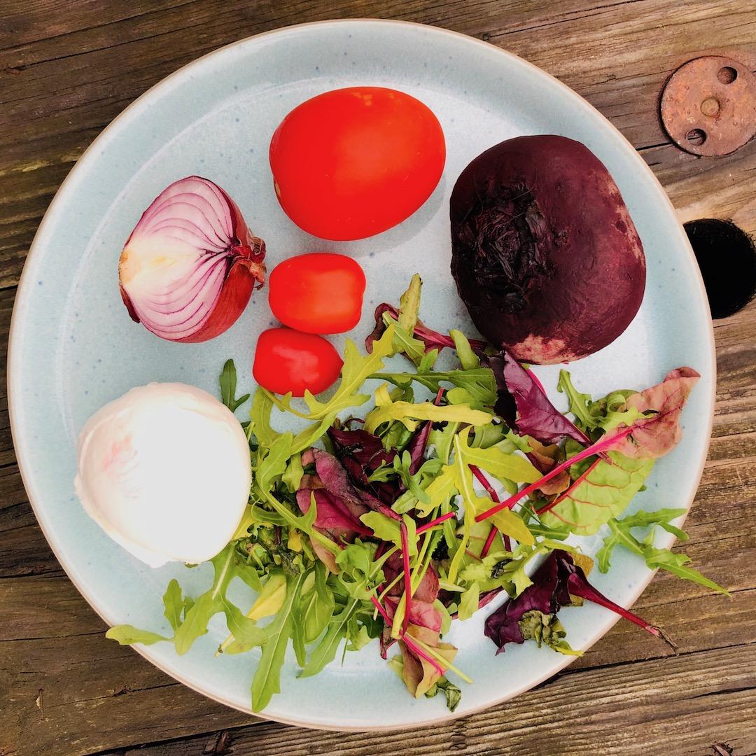 Beterraba - Mussarela - Tomate - Cebola - Salada de folhas