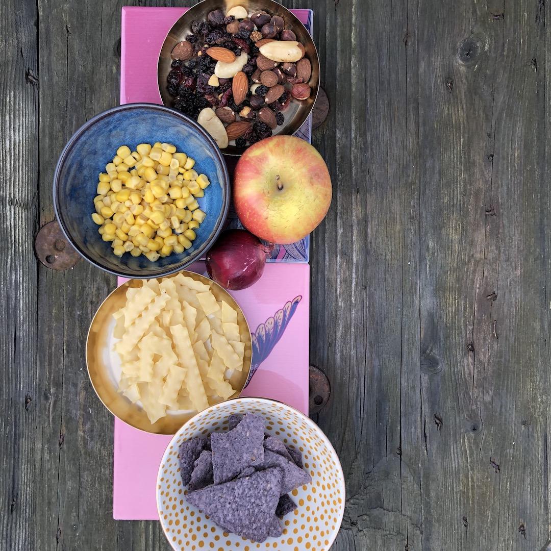 Nozes - Maçã - Milho - Cebola - Macarrão - Tortilla Chips
