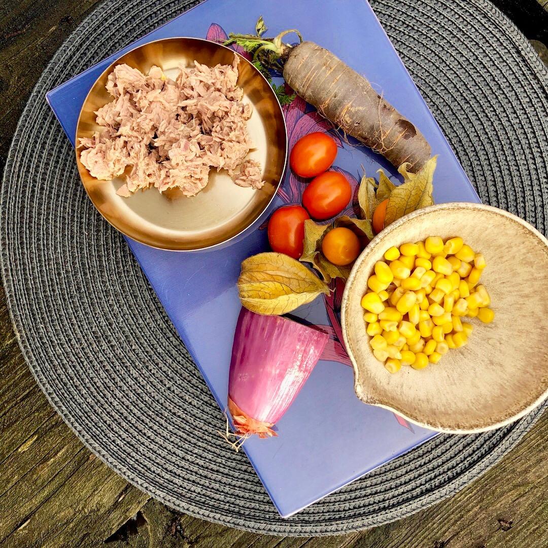 Atum - Cenoura - Tomate - Milho - Cebola - Cereja De Abacaxi