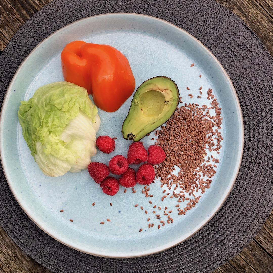 Framboesa - Linhaça - Pimenta Vermelha - Abacate - Salada